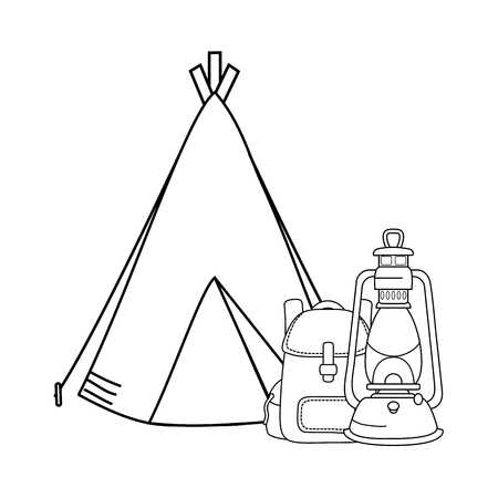 camping tent with kerosene lantern and bag vector illustration design