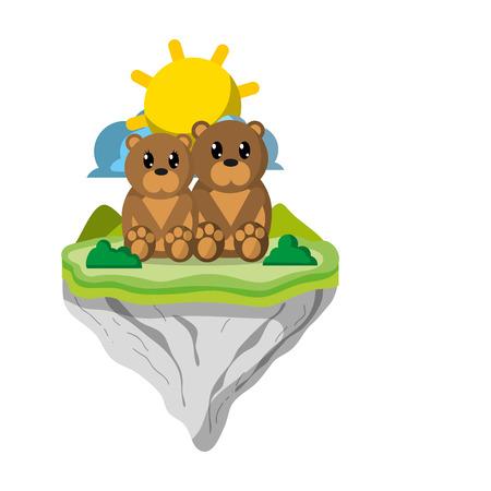 couple bear animal in float island vector illustration
