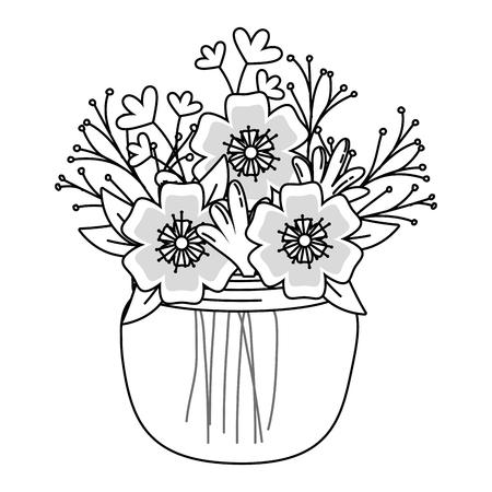 beautiful nature flowers inside decoration mason jar bottle plant pot cartoon vector illustration graphic design 向量圖像