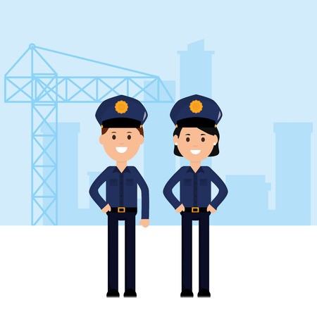 couple police officers avatars characters vector illustration design Illustration