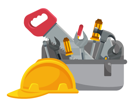construction architectural tools box cartoon vector illustration graphic design