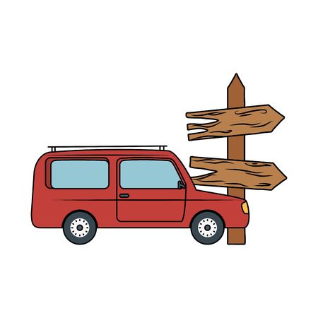 wooden arrow guide label with car vector illustration design