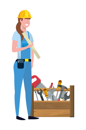 construction architectural worker woman with tools box cartoon vector illustration graphic design Vectores