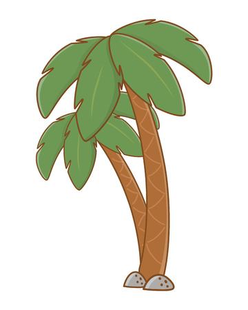Tourist trip summer travel rocks and palm trees vegetation isolated adventure exploration vector illustration graphic design