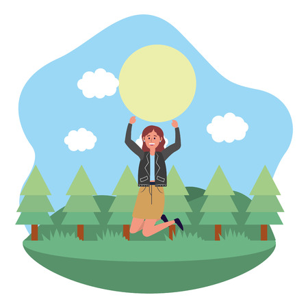 young happy woman at nature park jumping cartoon vector illustration graphic design Ilustrace