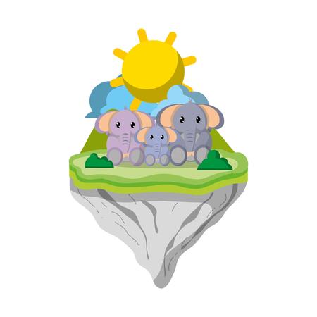 family elephant animal in float island vector illustration