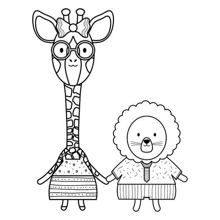 cute female giraffe with lion vector illustration design