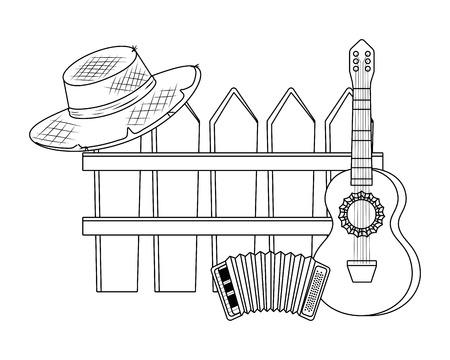 festa junina brasilien traditionelle feier party elemente karikaturvektorillustrationsgrafikdesign