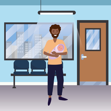 family baby care father man with baby at medical hospital room cartoon vector illustration graphic design