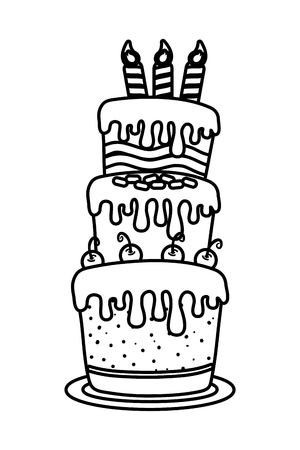 birthday party festive element cake cartoon vector illustration graphic design