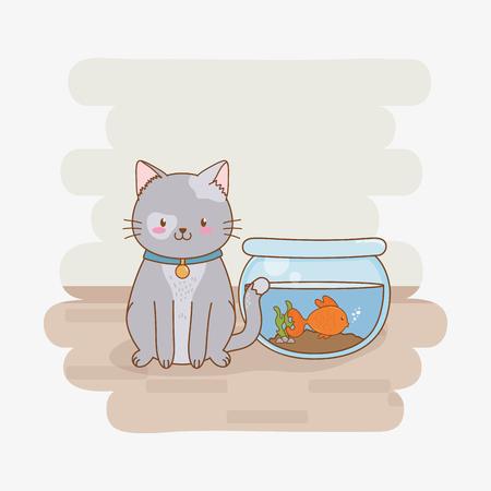 Diseño lindo del ejemplo del vector del carácter de la mascota del gatito pequeño