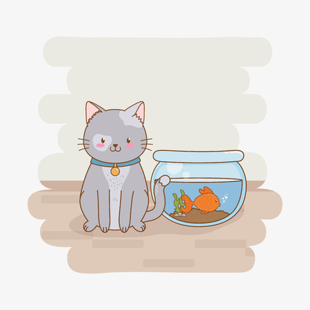 Mignon petit kitty mascotte caractère vector illustration design