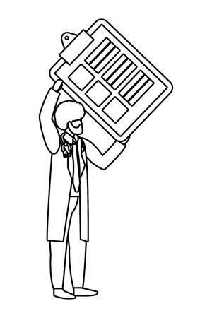 healthcare medical doctor man holding documents folder cartoon vector illustration graphic design