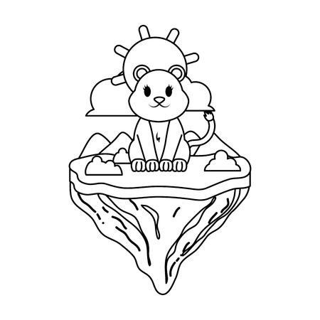 Linie weibliches Löwentier in Schwimminsel-Vektorillustration Vektorgrafik