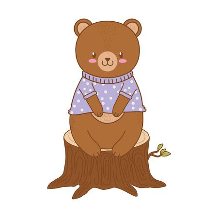 cute bear in trunk woodland character vector illustration design Foto de archivo - 122634646