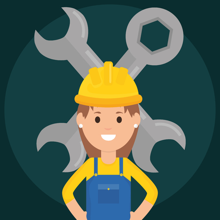 female builder worker with helmet and wrench keys vector illustration design