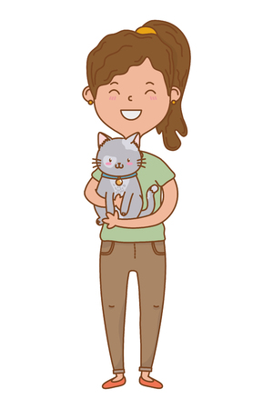 childhood happy child girl with cute little pet animal cartoon vector illustration graphic design