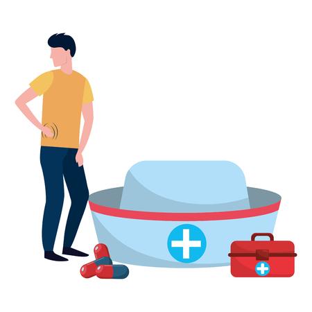 healthcare medical man patient with hospital elements cartoon vector illustration graphic design Illustration