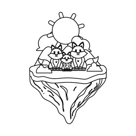 line family fox animal in float island vector illustration Ilustração