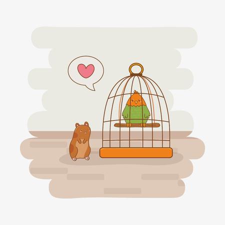 cute little parrot and guinea pig mascots vector illustration design