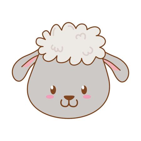 cute sheep woodland character vector illustration design