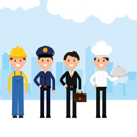 group of professionals workers vector illustration design Ilustração