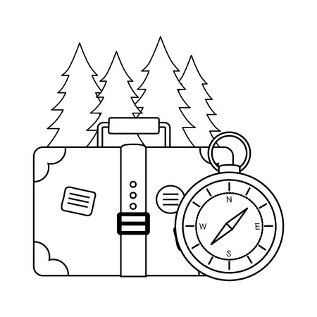 compass guide with pines forest vector illustration design