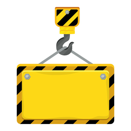construction architectural hook holding sign cartoon vector illustration graphic design  イラスト・ベクター素材