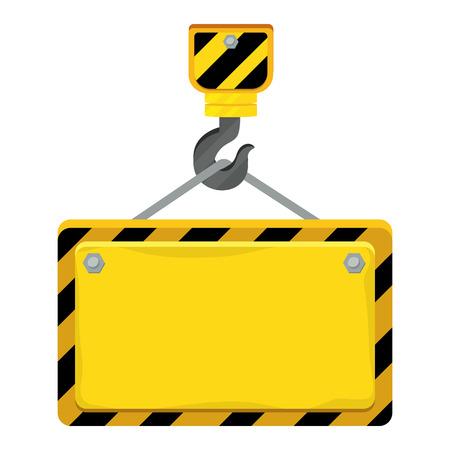 construction architectural hook holding sign cartoon vector illustration graphic design Illustration