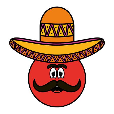 mexican emoji with hat character vector illustration design Ilustración de vector
