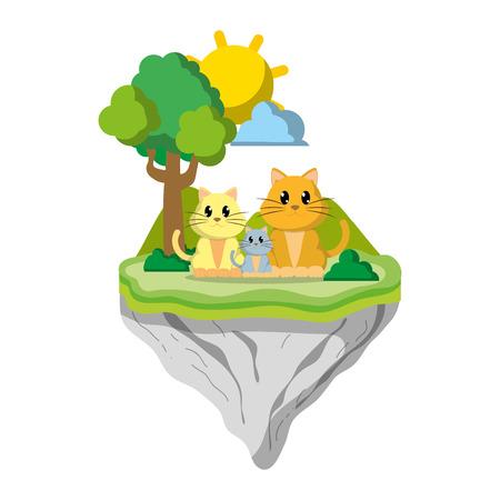 family cat animal in float island vector illustration