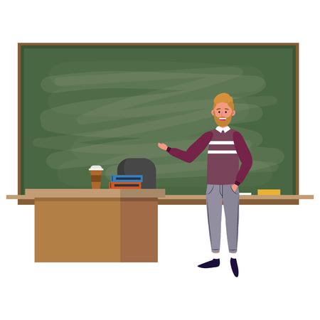 education university college man student at classroom cartoon vector illustration graphic design