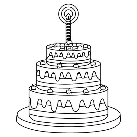 delicious sweet cake with one candle vector illustration design Фото со стока - 122634877