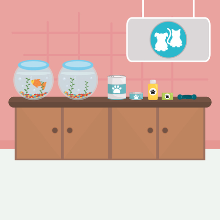 pet shop wooden drawer with aquariums and products vector illustration design Illustration