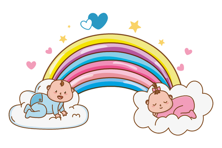 cute baby shower babies with magic elements cartoon vector illustration graphic design