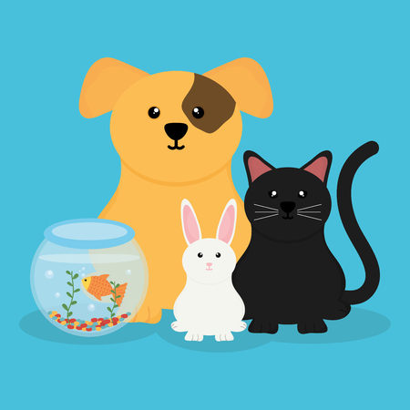 group of cute pets characters vector illustration design