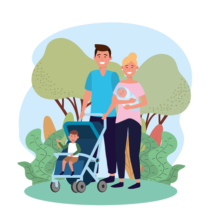 cute man and woman with their son in the stroller vector illustration Иллюстрация