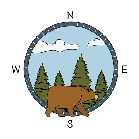 pines trees forest scene with bear grizzly vector illustration design