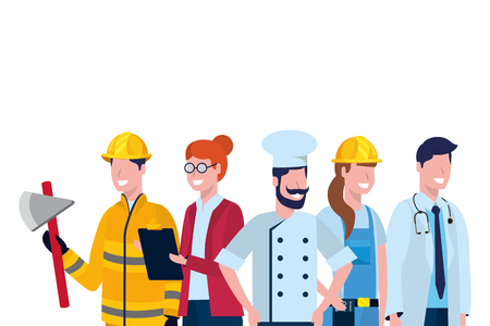 labor day job career professions people group cartoon vector illustration graphic design