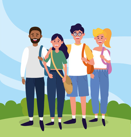 university women and men with backpack to study vector illustration