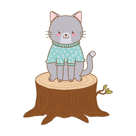 cute cat in trunk woodland character vector illustration design Foto de archivo - 122564353