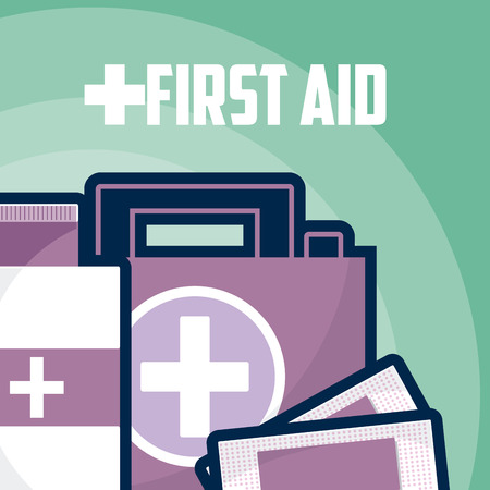 First aid suitcase with bottle and bandage vector illustration graphic design