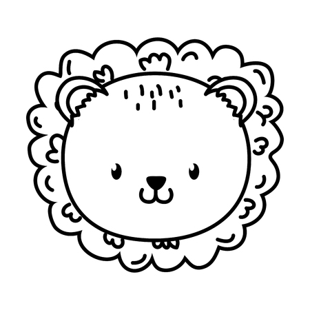 cute little animal lion face cartoon vector illustration graphic design
