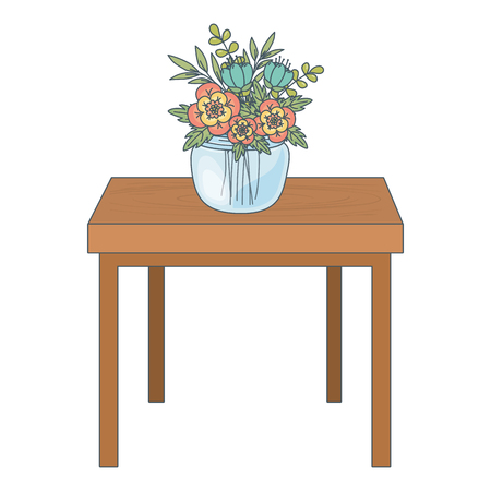 floral nature flowers glass plant pot over wooden table cartoon vector illustration graphic design
