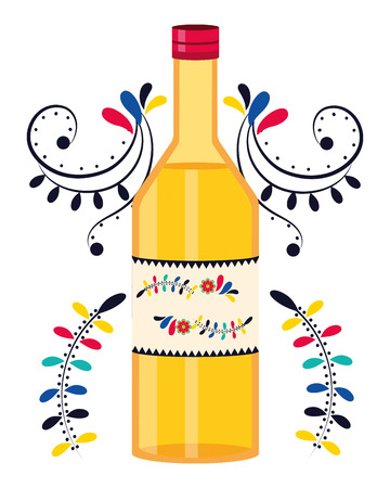 mexican culture festival tequila bottle cartoon vector illustration graphic design Zdjęcie Seryjne - 122564402
