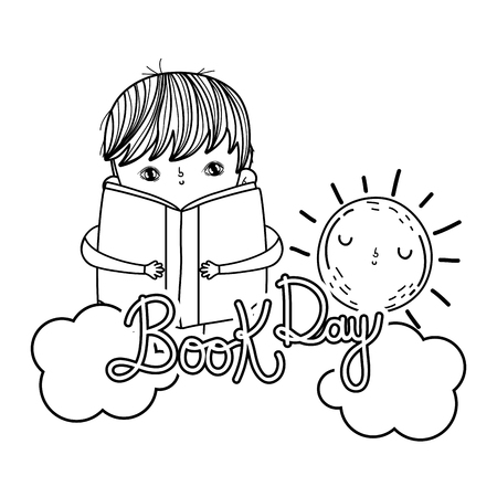 happy little boy reading books with clouds vector illustration design Illustration