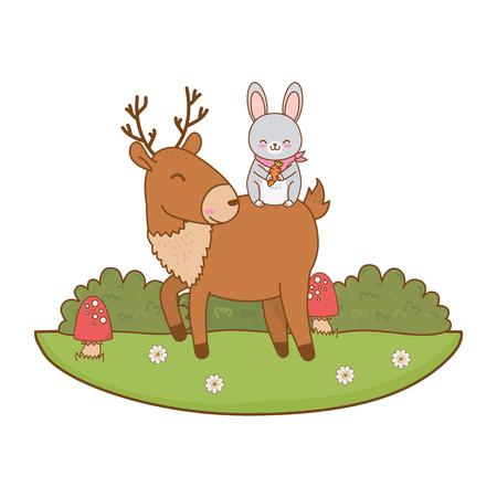 cute rabbit and reindeer in the field woodland characters vector illustration design Foto de archivo - 122564446