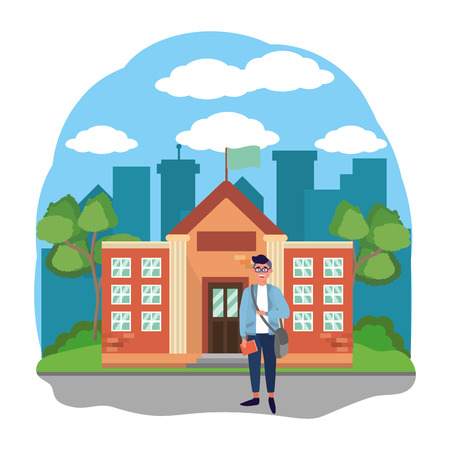 young happy man student at high school building cartoon vector illustration graphic design