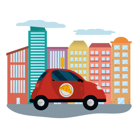 delivery car in cityscape vector illustration graphic design