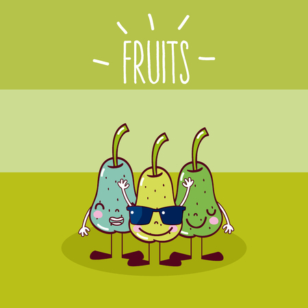 Cute and funny pears fruits cartoons vector illustration graphic design